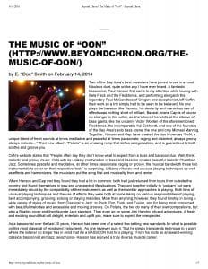 Beyond Chron Article on OoN